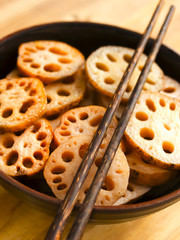 close up of a bowl of lotus root