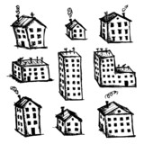 Set of houses sketch for your design