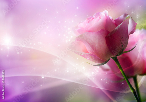 Fotobehang Rozen Roses Art Design. Invitation Card