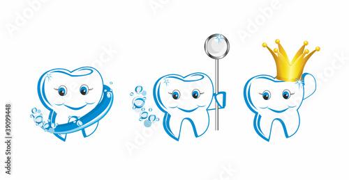 вектор подмигивая счастливый улыбающийся зуб