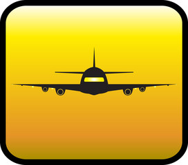yellow glossy icon with plane silhouette