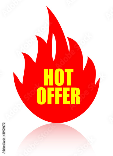 Hot offer vector sign
