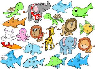 Animal Safari Summer Ocean Vector Set