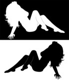 black silhouette of beautiful sexy girls