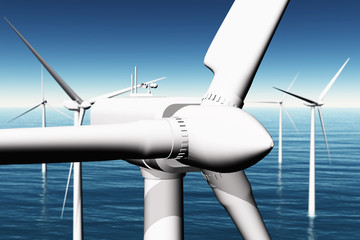 Windfarm in the sea 3D render