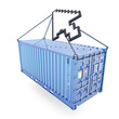 E-commerce container delivery isolated on white