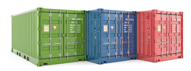 Cargo containers isolated on white