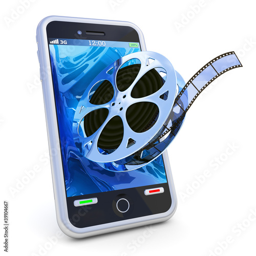 Smartphone mobile video isolated on white