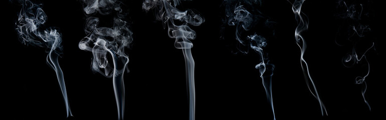 Smoke on black background. Set of six.