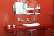 Red bathroom wall