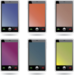Set of abstract  touchscreen smartphones.