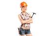 A female manual worker posing