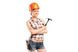 A female manual worker posing