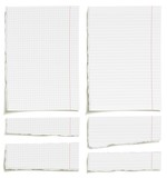 Set of blank squared and lined paper sheets or notepad pages