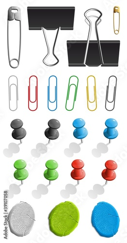 Elements for attaching paper: pin, plasticine and paperclip set