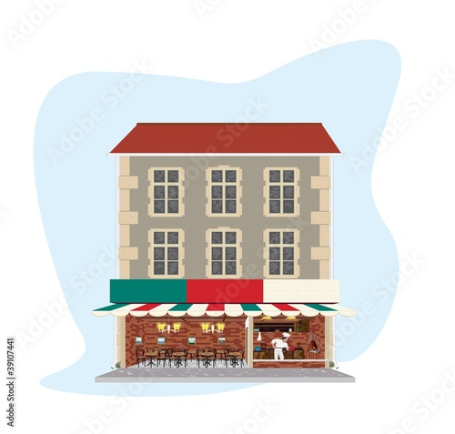Building with Pizzeria restaurant - detailed illustration