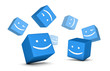 Group of happy smiling boxes. Social network