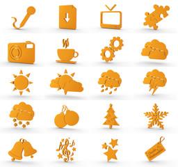 20 3d Icons orange