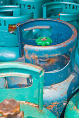 The cooking gas cylinders