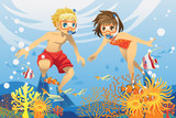 Fototapety Kids swimming underwater
