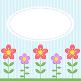 Background with flowers and white frame