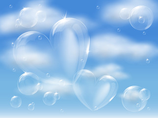 bubble hearts in sky