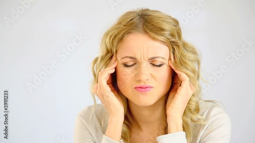 Woman having a bad migraine