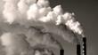 thermal power plant, smoke, black and white