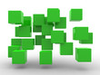 Abstract geometric shape from green cubes