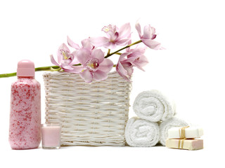 bath accessories in the basket.