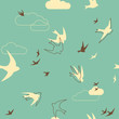 Flock of swallows Seamless Pattern