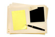 Files with Blank Photo Notepaper and Pen