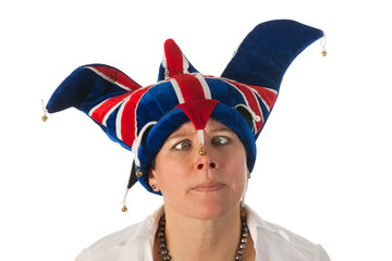 Woman cross eyed with Brittain funny hat
