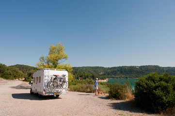 With mobile home in France