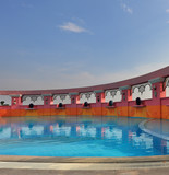 Elegant pool on the twentieth floor of hotel poster