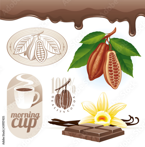 Vector set - Cocoa beans and chocolate