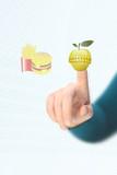 deciding between hamburger or an apple poster