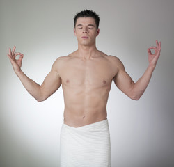 relaxed sportsman breathing