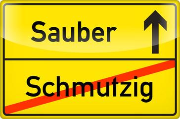 Schild: sauber & schmutzig