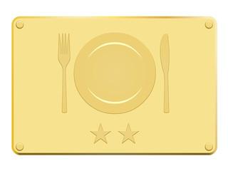 Plaque en or avec couvert 2 étoiles