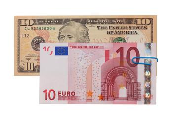 Euro and dollar banknotes money