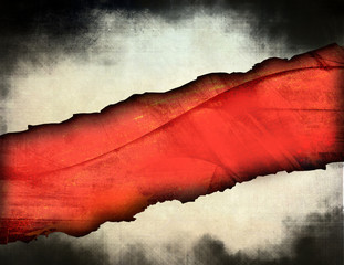 Grunge torn texture with red stripe