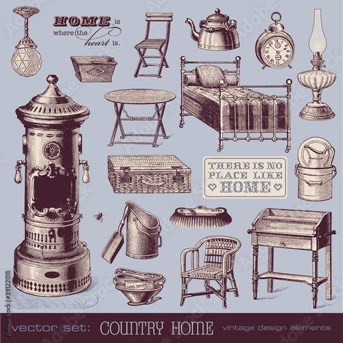 vintage furniture and household objects