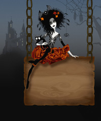 Illustration for Halloween with witch