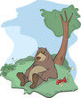 Brown bear on a glade. Cartoon