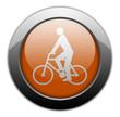 """Orange Metallic Orb Button """"Bicycler"""""""