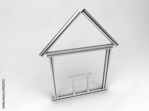 simbolo icona casa 3d classificazione energetica alluminio