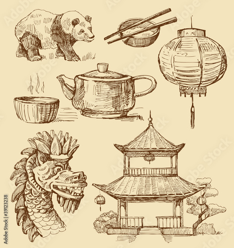 Set of China hand-drawn icons