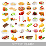 Fototapety Big vector set: food (various delicious dishes)