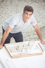 Architect working on a maquette